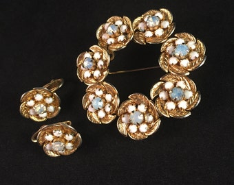 Pretty Hobé Demi Parure of Clouded Pastel Blue and Milkglass Faceted Cabochons (Earrings and Brooch Pin) Stunning! 772