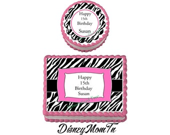 TEEN ZEBRA  Birthday Party Edible Image Cake Topper Cupcake Personalized Custom Made