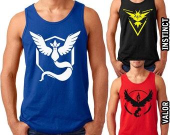 Pokemon Go Gym Team Tanks Team Instinct, Team Valor, Team Mystic Adult S-3XL Tank Tops