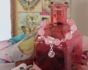 "The ""Mercedes"" Bracelet / Breast Cancer Awareness Bracelet / Pink Agate Bracelet / Pink Bracelet / Breast Cancer Fundraiser  - Charming 152"