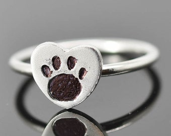 Dog Paw Ring, Stackable Ring, Bridesmaid Gift, Bridesmaid Jewelry, Midi Ring, Best Friend Gift, Wedding Gift, Baby Gift, Graduation Gift