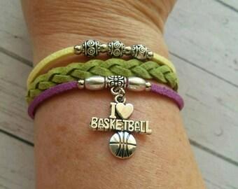 Girl's Sports Bracelet// Basketball Charm Bracelet// Multi Strand Friendship Bracelet// Basketball Gift// Choose ONE Charm & Cord Colors