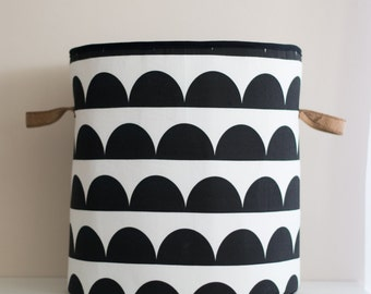 XXLarge Round Laundry Hamper, Laundry Basket, Toy Storage, Nursery Fabric Basket, Storage Bin, Toy Basket, Nursery Storage, Black & White
