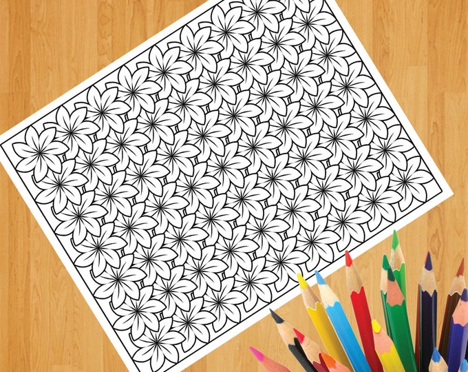 Flowers Pattern Coloring Print, Colouring Print, Floral Coloring