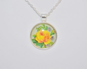 Flower Necklace Pendant, Pattern Glass Cabochon, Jewelry