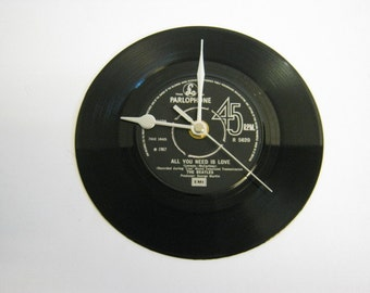 """The Beatles - """"All You Need Is Love"""" Record/Record Sleeve Wall Clock"""