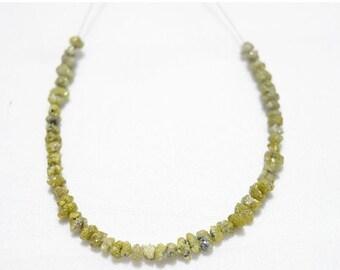 ON SALE 40% Rough Diamonds - Yellow Diamond - Natural Raw Uncut Diamond Beads - 3.5mm To 4mm - 5 Inches Strand