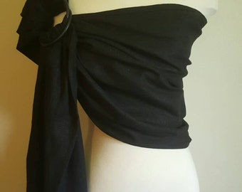 Black ring sling, wrap carrier, baby wearing, baby carrier, 'maya' style sling, shower gift, boy girl
