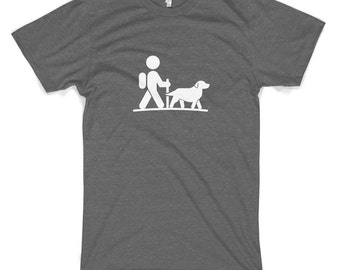 Hiker With Golden Retriever Cotton T-Shirt