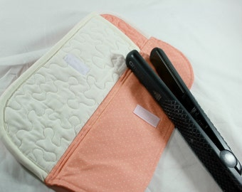 Flat Iron/Curling Wand Case, Quilted, Heat Resistant, Coral, Ivory, Polka Dots