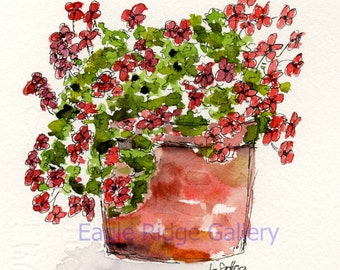 Original Watercolor Painting, Red Flowers in Terra Cotta Pot, Original Art, 5x7 Painting, Painting of Red Flowers, Watercolor Art