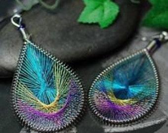 Peacock tail earrings