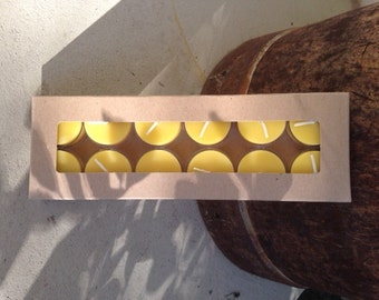 12 Tealight Candles in a gift box  ~ 100% Pure Beeswax