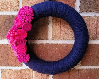 Navy Blue and Pink Wreath // Magenta and Hot Pink // Felt Flowers