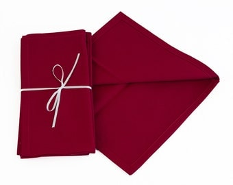 Red Cotton Napkins 18 x 18, Red Beverage Napkins 9 x 9, Custom sized Cotton Napkins in Red