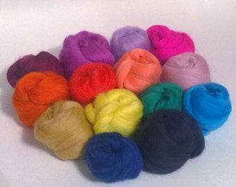 Merino wool tops 70s 21 micron mixed colours 100grams