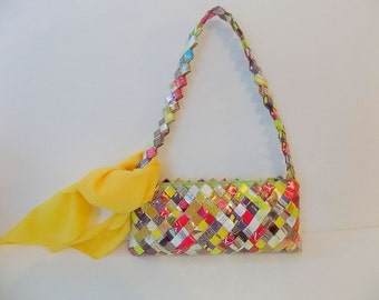 Recycled Mexican Candy Wrapper Purse with Bonus Vintage Yellow Chiffon Scarf, FREE SHIPPING