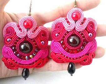 Earrings Soutache large garnet.