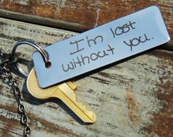 Handwritten Keychain - Customizable back side,  your handwriting option cutom keychains ACTUAL HANDWRITING - MY HANDWRITINGCustomize