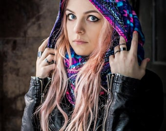 Purple, Blue, and Pink Patterned (IMPACT) Infinity, Hoodie Scarf--Jordan Terra/Clash Catalysts/A Scarf Collection