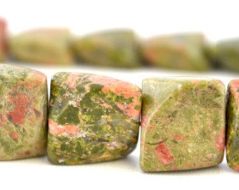 Square Unakite Beads, Sold by 1 strand of 25pcs, 16mm, 1mm hole opening, 102.2grams/pk