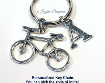 SALE - Bicycle Keyring, Bicycle Keychain, Personalized Biker Key chain, Gift for bicyclist Gifts, Triathlete, Triathlon with Initial 145