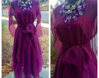 SALE! Kay Kipps dress|purple chiffon dress|Union made dress|vintage formal dress|purple formal dress|1970s dress|purple dress