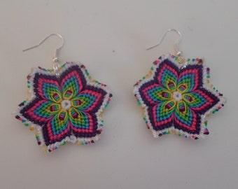 Earrings multi color flowers