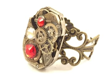 RED & WHITE Steampunk Vintage Ring