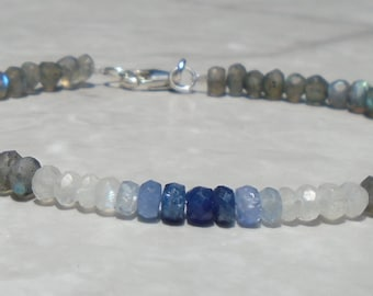 Sapphire Bracelet, Sterling Moonstone Bracelet, Labradorite Bracelet, Ombre Bracelet, Blue Gemstone Bracelet, Dainty Beaded Bracelet