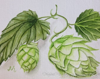 """ORIGINAL Realistic Watercolour Postcard, """"Hop plant"""", Hand Painted Postcard - Signed by Artist"""