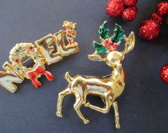 Christmas Pins * REINDEER * NOEL * Gold Tone * Large Size * Lot Of Two Pins