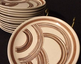 Mid Century Brown Swirl Dessert or Bread Plates Set of 6 (2 sets available) Marked USA