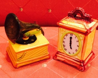 Lefton Clock and Victrola Record Player Salt and Pepper Shakers  from Japan circa 1950's