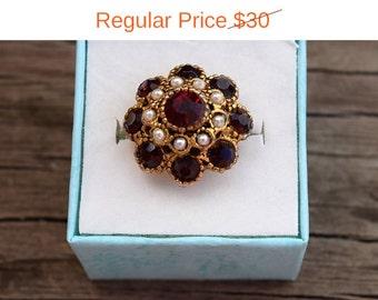 SALE! Vintage Italian Style Ornate Renaissance Faux Garnet Pearl Cluster Ring