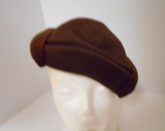 Vintage hat: Dark brown felt mini hat .....very unique