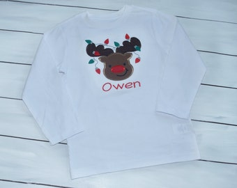 Reindeer Christmas Shirt - Kids Christmas Shirt - Christmas Outfit - Holiday Reindeer Outfit - Kids Christmas Outfit