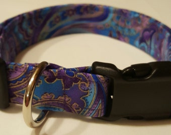 Purple/Teal Paisley Dog Collar