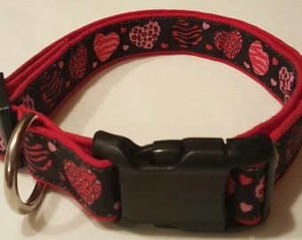dog collar, animal print hearts, valentines day, valentines day collar, hearts, heart dog collar