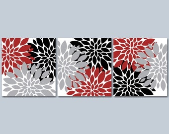 Red Gray Floral Wall Art,Maroon Black Gray Floral Wall Art,Red Black Floral