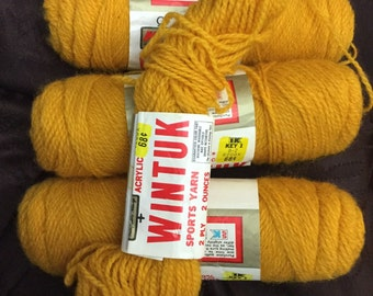 Lot of 3+ skeins of VINTAGE  Wintuk Orlon Acrylic sport yarn in GOLD color from Kmart 2 oz skeins 1970's