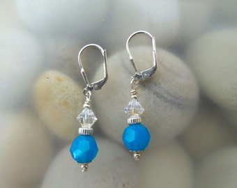 Caribbean Blue & Moonlight Swarovski Crystal Earrings