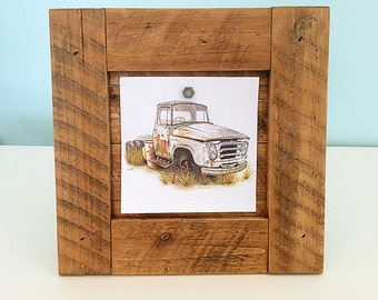Wood Picture Frame, Recycled Wood - Freestanding - Rustic Country Style