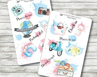 wanderlust: handpainted watercolor travel adventure planner stickers