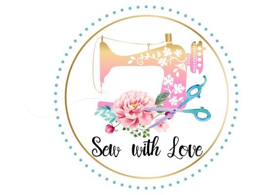 máquina de coser Vintage logo costurera logo acuarela flor