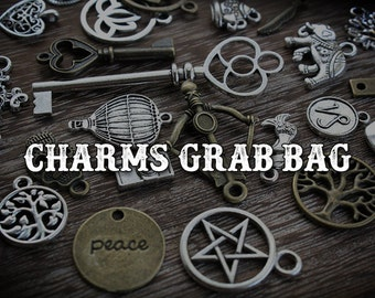 Charms Grab Bag, With NEW Charms, Lot of Charms pick your size, Mixed Silver, Gold, Copper & Bronze Charms