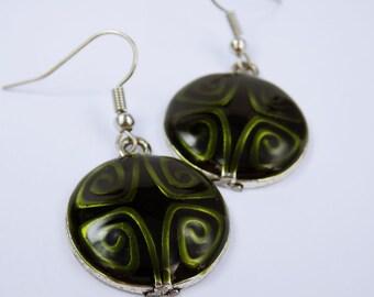 Earrings olive green metallic with pattern of green enamel pendant green jewelry hanging earrings