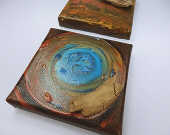 Two Driftwood paintings - acrylic on canvas - original mini artwork 10 x 10 cm in Brown, blue, green, bronze
