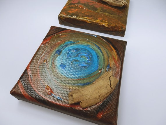 Two driftwood paintings-acrylic on canvas-Original mini-artwork 10 x 10 cm in brown, blue, green, bronze