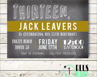 DIY Digital Download / Printable - Trendy Teenage Chalkboard Thirteenth (13th) Birthday Party - Custom Banner Color - 5X7
